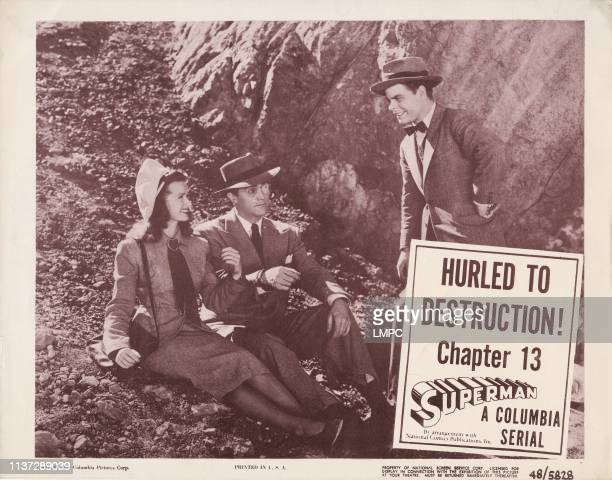 Superman, lobbycard, , from left: Noel Neill, Kirk Alyn, Tommy Bond, Chapter 13, 'Hurled To Destruction!', 1948.
