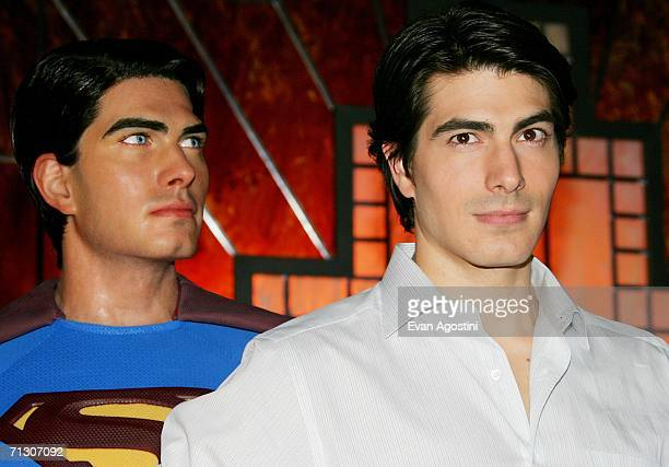 Superman Returns star Brandon Routh unveils the new Superman wax figure at Madame Toussauds New York June 27 2006 in New York City