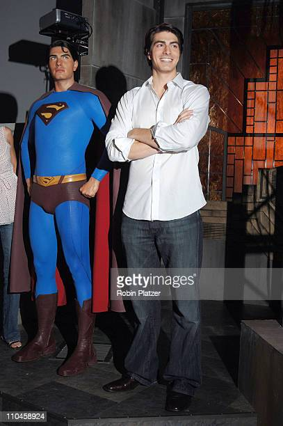 Superman Wax Figure and Brandon Routh during Brandon Routh Launches the New Wax Figure of Superman from 'Superman Returns' June 27 2006 at Madame...