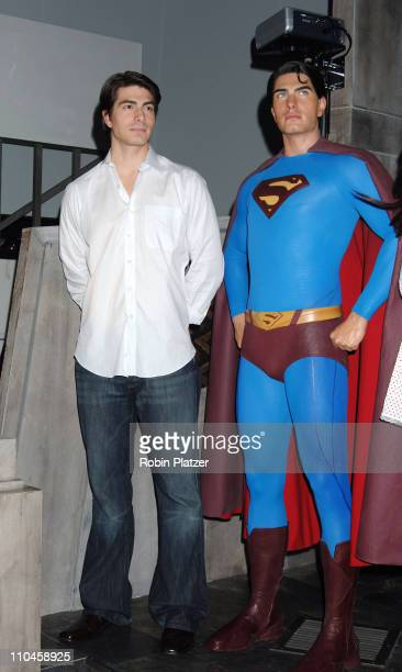 Superman Wax Figure and Brandon Routh during Brandon Routh Launches the New Wax Figure of Superman from Superman Returns June 27 2006 at Madame...