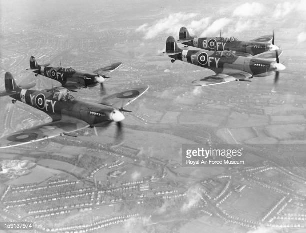Supermarine Spitfire Mk IXs of 611 Squadron in flight Biggin Hill 8 December 1942