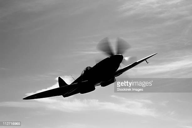 A Supermarine Spitfire Mk-18 in flight near West Chester County, Pennsylvania.