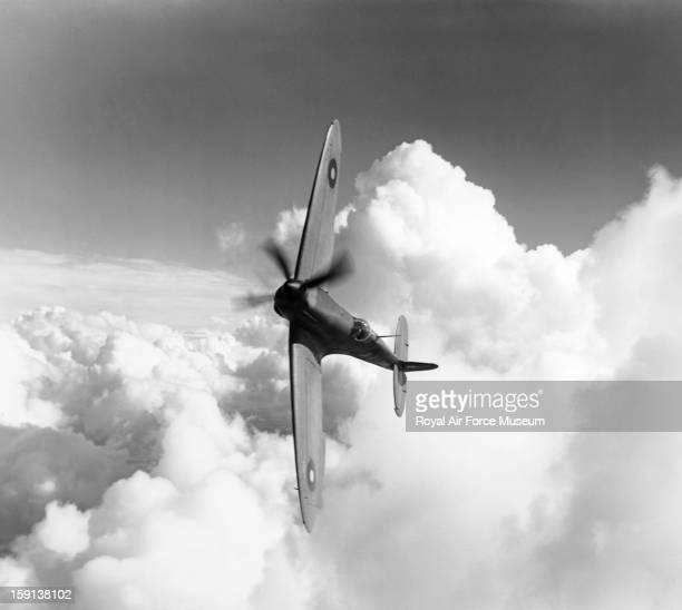 Supermarine Spitfire XI in flight Worthy Down 17 October 1943