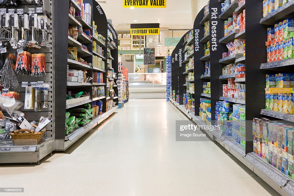 Supermarket aisle : Stock Photo