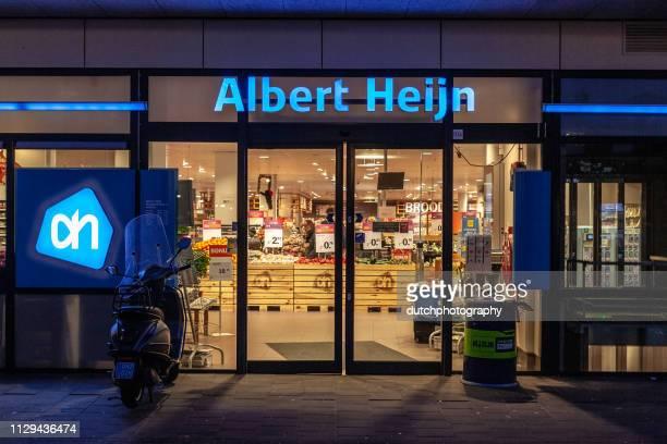 supermarket albert heijn in amersfoort, the netherlands 2018 - fachada supermercado imagens e fotografias de stock