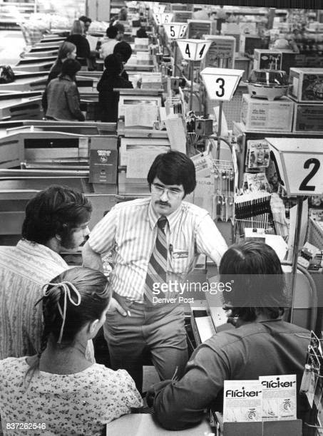 Supermarket Clerks Trained for Work During Strike Leon Feldman who trains checkout clerks for King Soopers teaches a group of trainees how to operate...