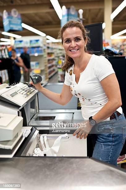 Supermarket female cashier