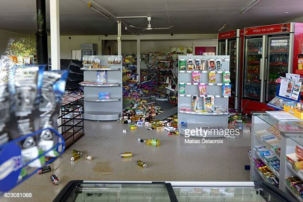 A supermarket in Waiau 120 kms north of Christchurch shows damage in the aftermath of a 75 magnitude earthquake on November 14 2016 in Waiau New...