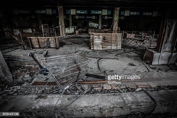 Supermarket ruins in Pripyat city on June 12 2013 The Chernobyl disaster was a catastrophic nuclear accident that occurred on 26 April 1986 at the...