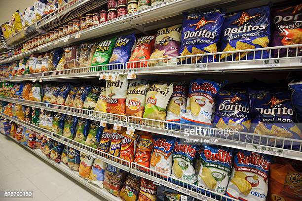 A supermarket shelf at a Kings Food Market in Midland Park New Jersey filled mostly with FritoLay brands of chips