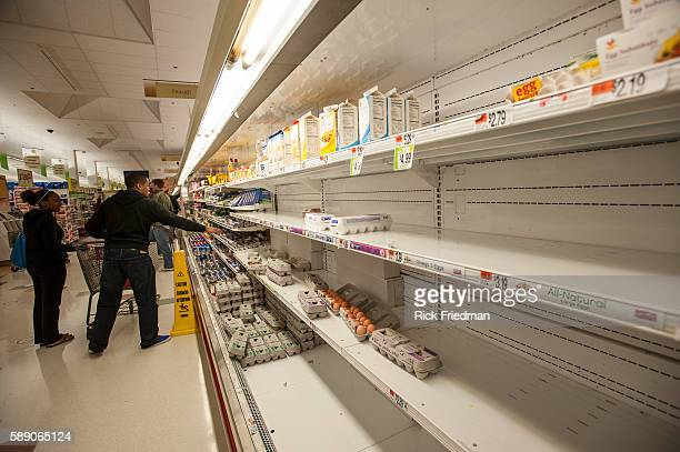 Supermarket shelves almost empty of eggs at Stop Shop in Boston MA as people prepare for Hurricane Sandy on October 28 2012