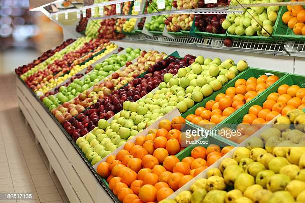 supermarket-fruits - produce aisle stock photos and pictures