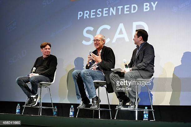 Supermensch' director Mike Myers and Shep Gordon speak on stage during a panel discussion at the 17th Annual Savannah Film Festival on October 31,...