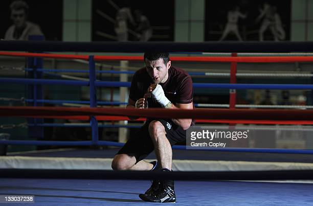 SuperMiddleweight champion Carl Froch in action during a media work out at the English Institute of Sport on November 16 2011 in Sheffield England