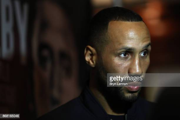 IBF supermiddleweight title holder James DeGale talks to the media during a press conference at The Landmark Hotel on October 30 2017 in London...