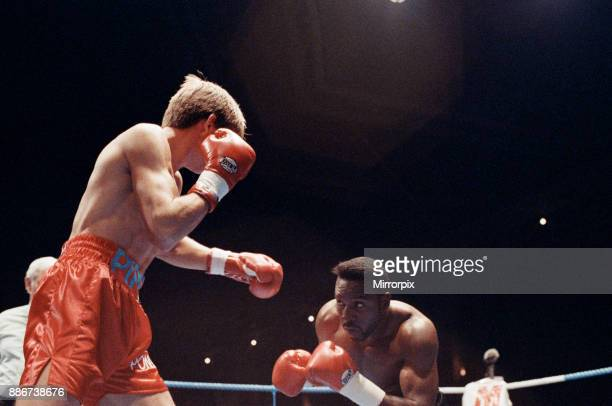Super-middleweight title, Nigel Benn vs Nicky Piper. Alexandra Pavilion, London, England. Benn won by TKO in the 11th round to retain his WBC...