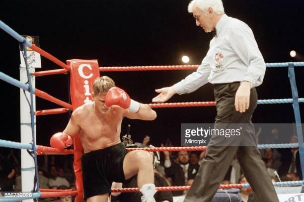 WBC supermiddleweight title Nigel Benn vs Vincenzo Nardiello London Arena England Benn won by TKO in the 8th round to retain his WBC...
