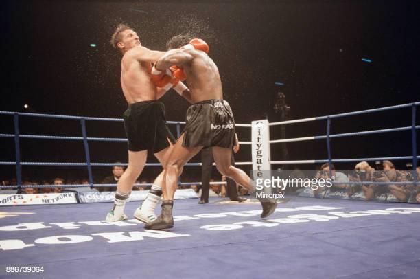 Super-middleweight title, Nigel Benn vs Vincenzo Nardiello. London Arena, England. Benn won by TKO in the 8th round to retain his WBC...