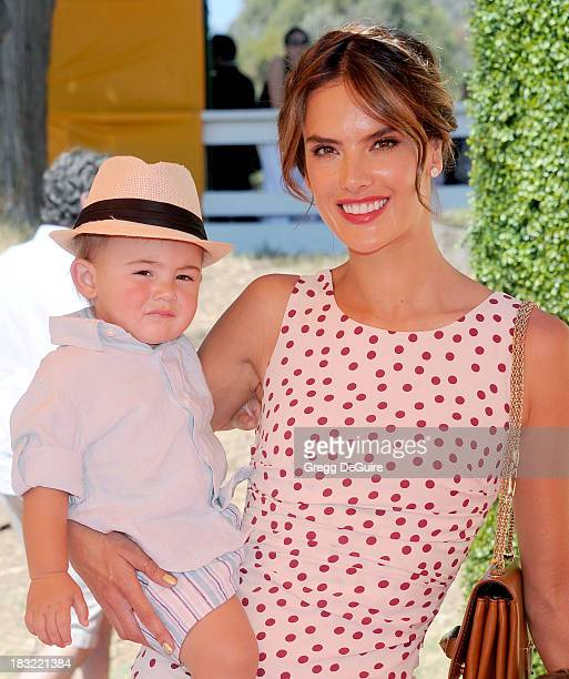 Supermodel Alessandra Ambrosio and son Noah Phoenix Ambrosio Mazur arrive at the Veuve Clicquot Polo Classic at Will Rogers State Historic Park on...