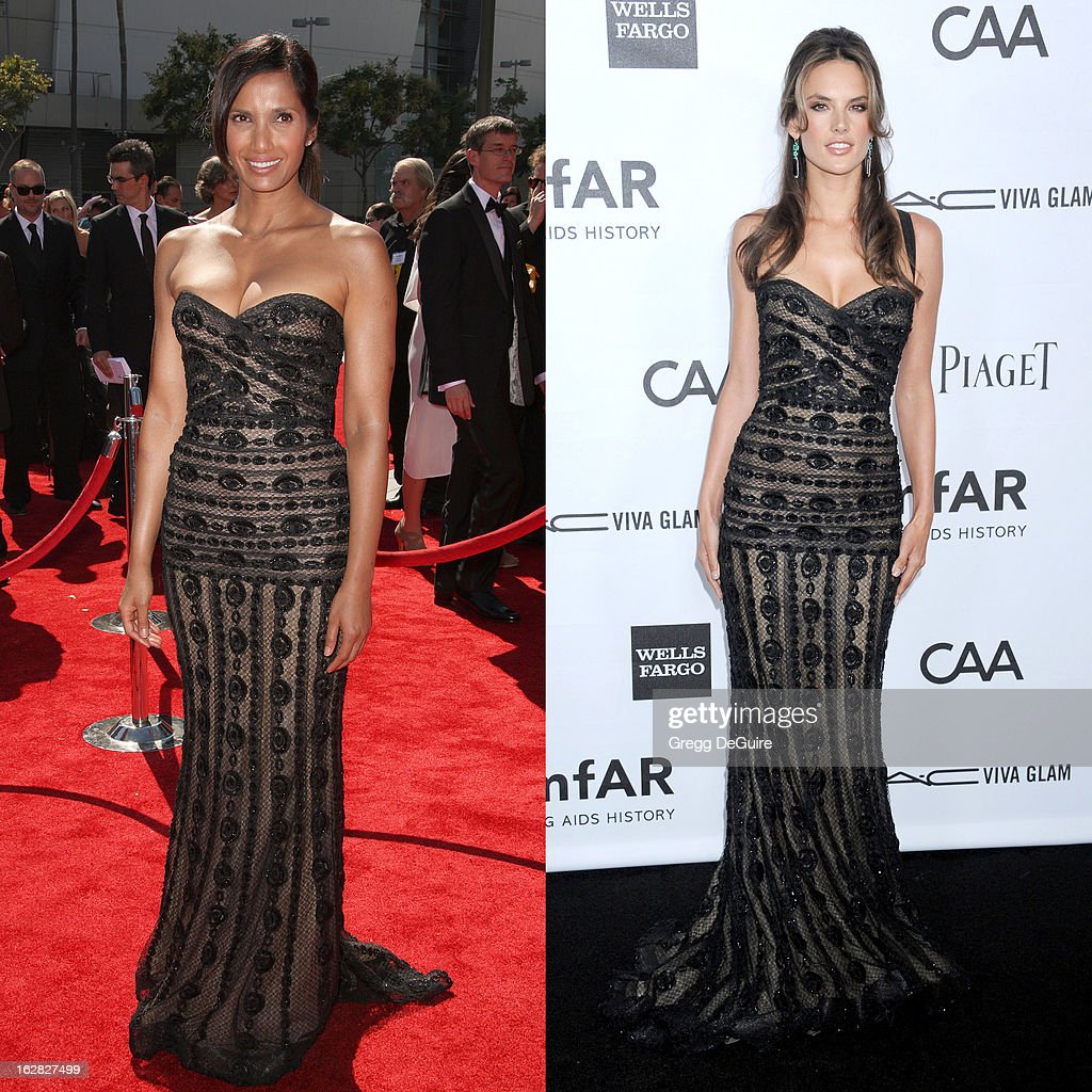 In this composite image a comparison has been made between Padma Lakshmi (L) and Alessandra Ambrosio (R) for a Celebrity Same Dresses feature. Actress Padma Lakshmi attends The Academy Of Television Arts & Sciences 2012 Creative Arts Emmy Awards at the Nokia Theatre L.A. Live on September 15, 2012 in Los Angeles, California. LOS ANGELES, CA - OCTOBER 11: Supermodel Alessandra Ambrosio arrives at amfAR's 3rd Annual Inspiration Gala at Milk Studios on October 11, 2012 in Los Angeles, California.