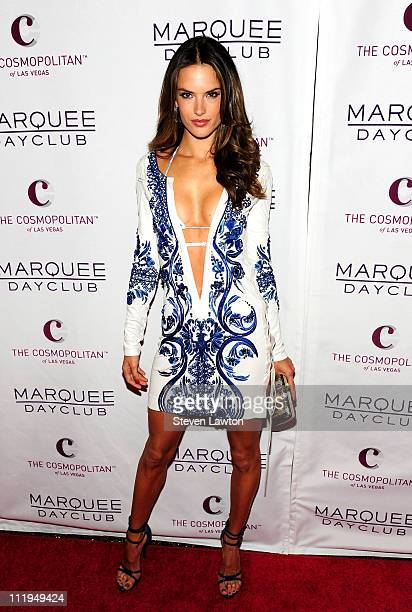 Supermodel Alessandra Ambrosio arrives for the grand opening of Marquee Day Club at The Cosmopolitan Las Vegas on April 9 2011 in Las Vegas Nevada