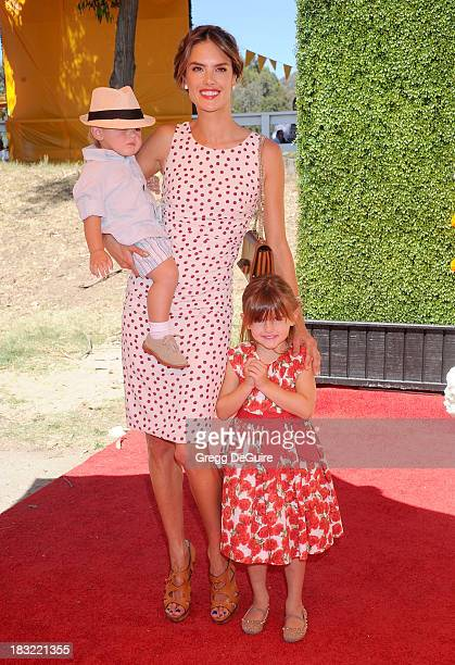 Supermodel Alessandra Ambrosio son Noah Phoenix Ambrosio Mazur and daughter Anja Louise Ambrosio Mazur arrive at the Veuve Clicquot Polo Classic at...