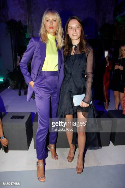 Supermodel and actress Karolina Kurkova and designer Anna K during the Cybex Fashion Cocktail on September 5 2017 in Berlin Germany