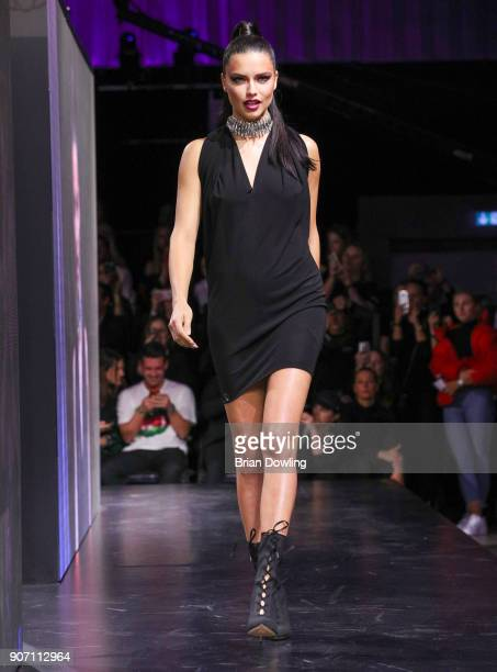 Supermodel and Victoria's Secret Angel Adriana Lima walks the runway during the Maybelline Show 'Urban Catwalk - Faces of New York' at Vollgutlager...