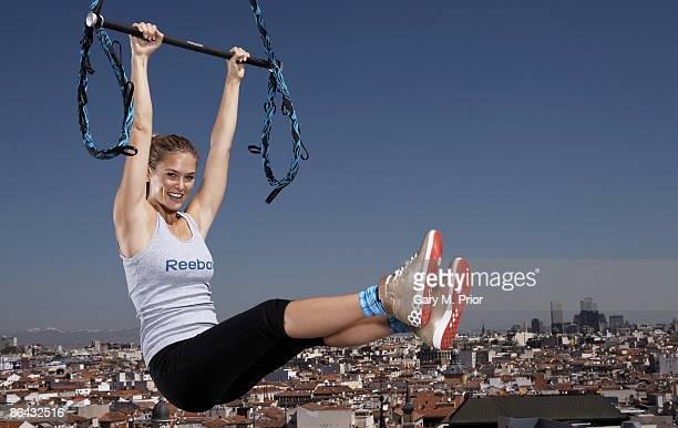 Supermodel Bar Refaeli launches Reebok's and Cirque du Soleils revolutionary new workout for women 'Jukari Fit to Fly' at a media event on May 6 2009...