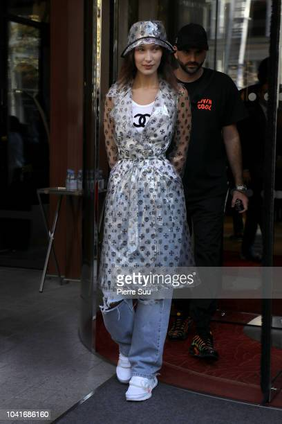 Supermodel Bella Hadid leaves her hotel on September 27 2018 in Paris France