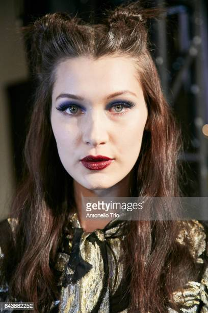 Supermodel Bella Hadid poses backstage at Anna Sui Fall/Winter 2017 Show during New York Fashion Week at Gallery 1 Skylight Clarkson Sq on February...