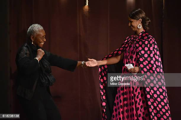 Supermodel Bethann Hardison presents the Save the Children Voice Award to Supermodel Activist and Founder of IMAN Cosmetics Iman at the 4th Annual...