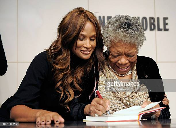 Supermodel Beverly Johnson with Poet and Author Dr Maya Angelou during the book signing for her book Maya Angelou Letter to My Daughter at Barnes...
