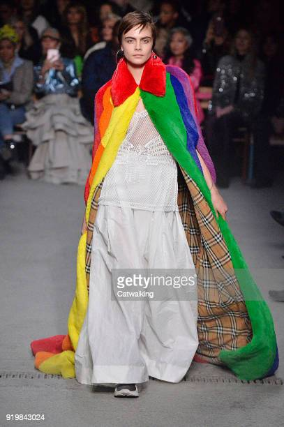 Supermodel Cara Delevingne model walks the runway at the Burberry Prorsum Autumn Winter 2018 fashion show during London Fashion Week on February 17...
