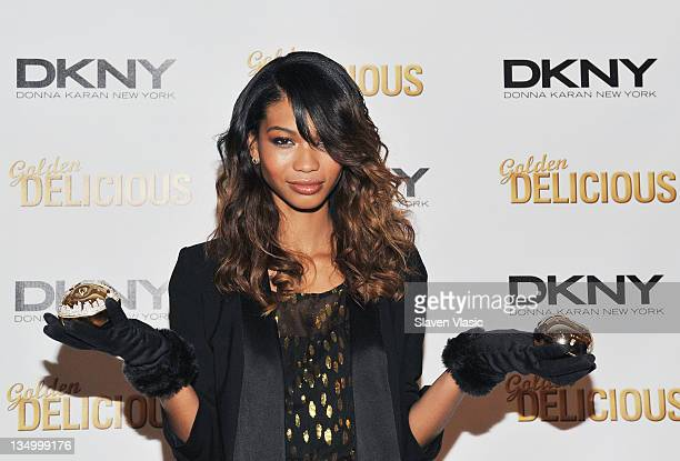 Supermodel Chanel Iman attends DKNY's Golden Delicious million dollar fragrance bottle unveiling at the DKNY Store on December 5 2011 in New York City