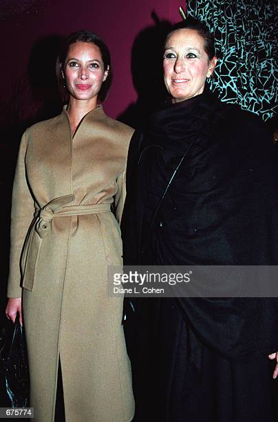 Supermodel Christy Turlington and fashion designer Donna Karan arrive for an evening of meditation and music December 4 2001 in New York The evening...
