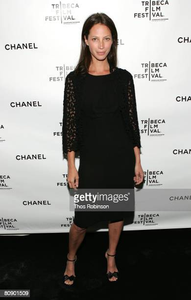 Supermodel Christy Turlington arrives at the Chanel Dinner held at the Greenwich Hotel during the 2008 Tribeca Film Festival on April 28 2008 in New...