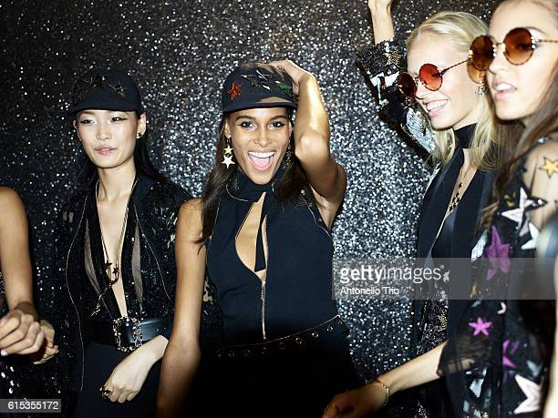 Supermodel Cindy Bruna poses prior the Elie Saab show as part of the Paris Fashion Week Womenswear Spring/Summer 2017 on October 1 2016 in Paris...