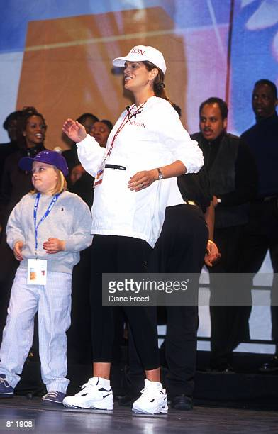 Supermodel Cindy Crawford 8 months pregnant joined in Revlon's Run/Walk for Women a charity event held in the streets of New York City to help the...