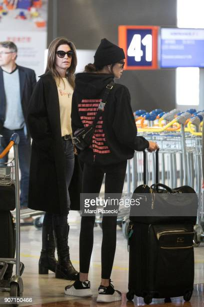 Supermodel Cindy Crawford and daughter Kaia Gerber are seen at Aeroport Roissy Charles de Gaulle on January 19 2018 in Paris France