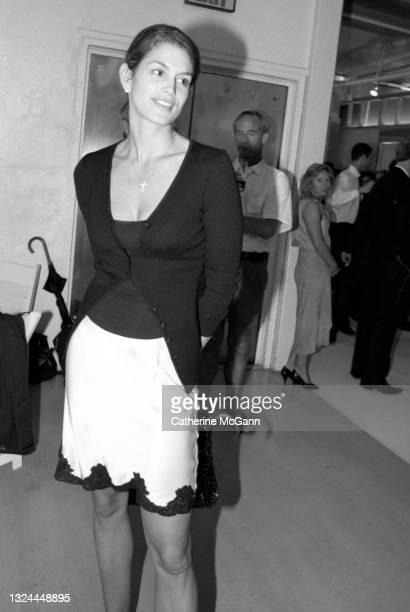 "Supermodel Cindy Crawford at Fashion designer Isaac Mizrahi""u2019s Soho showroom in July 1996 in New York City, New York."