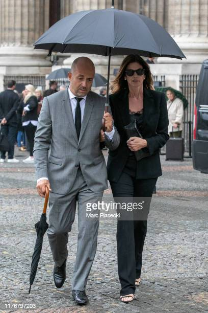 Supermodel Cindy Crawford attends Peter Lindbergh's funeral at Eglise Saint-Sulpice on September 24, 2019 in Paris, France.