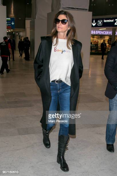 Supermodel Cindy Crawford is seen at Aeroport Roissy Charles de Gaulle on January 19 2018 in Paris France
