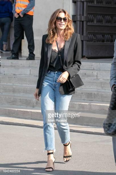 Supermodel Cindy Crawford is seen leaving the 'La Girafe' restaurant on September 28 2018 in Paris France