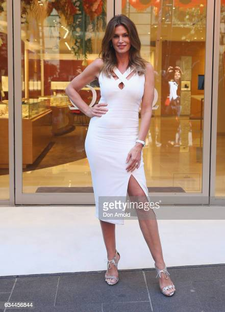 Supermodel Cindy Crawford poses outside the Omega store at Martin Place on February 10 2017 in Sydney Australia