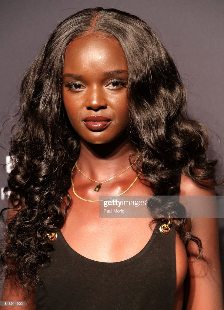 Supermodel Duckie Thot arrives to the Fenty by Rihanna Launch at the Duggal Greenhouse on September 7, 2017 in New York City.