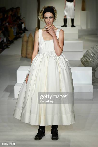 Supermodel Edie Campbell walks the runway at the Molly Goddard Spring Summer 2018 fashion show during London Fashion Week on September 16 2017 in...
