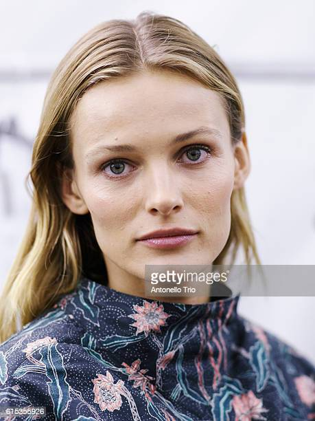 Supermodel Edita Vilkeviciute poses prior the Isabel Marant show as part of the Paris Fashion Week Womenswear Spring/Summer 2017 on September 29 2016...