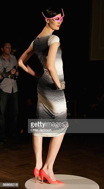 Supermodel Erin O'Connor models in the Philip Treacy for Umbro fashion show as part of London Fashion Week Autumn/Winter 2006/7 at the Royal...