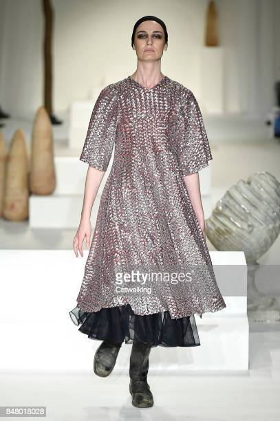 Supermodel Erin O'Connor walks the runway at the Molly Goddard Spring Summer 2018 fashion show during London Fashion Week on September 16 2017 in...